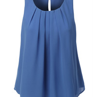 LE3NO Womens Chiffon Pleated Sleeveless Blouse Top (CLEARANCE)