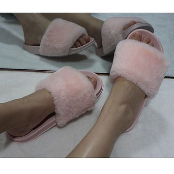 New one-word plush slippers female non-slip wear-resistant flat plush shoes fashion outer wear sandals