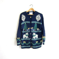 vintage ugly Christmas sweater cardigan // tacky christmas sweater // holiday party sweater in blue with polar bears and gold bows / size L