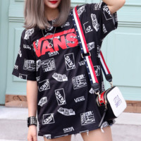 Vans New fashion more letter print couple top t-shirt Black