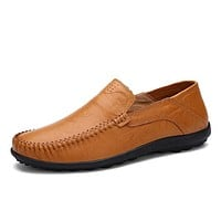 Slip On Luxury Genuine Leather Flats Mens Loafers Men Shoes Casual Fashion Driving Designer