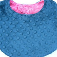 Navy Blue & Hot Pink Double Minky Baby Girl Reversible Bib