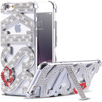 Luxury Rhinestone Kiss Lips Stand Case For iPhone 6 6S 4.7& 6 6s plus 5.5