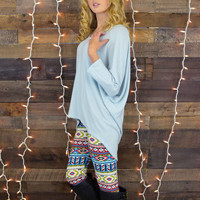 Snuggle Up Baby Blue Oversized Top