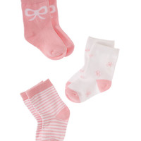 Kate Spade Layette Three-Pack Sock Set White / Balloon Pink ONE