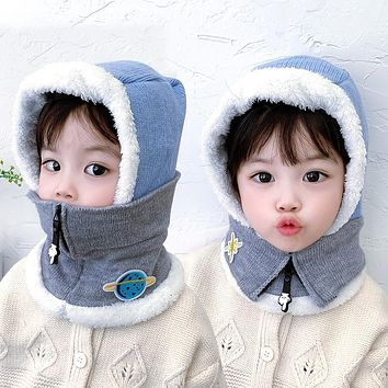 Children's Hats Autumn And Winter Boys And Girls Ear Caps Scarf One Cute Super Cute Baby Hat Plus Velvet Cartoon Cotton Hat
