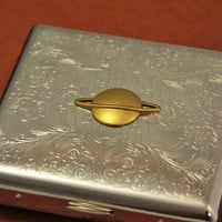 Planet Saturn Cigarette Case Steampunk Accessory Smoking Gifts Cigarette Holder Metal Business Card Cases Victorian Steampunk Gift Ideas