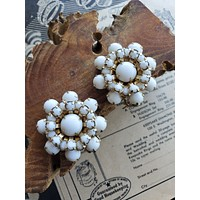 Weiss milk glass round clip on cluster earrings mid century