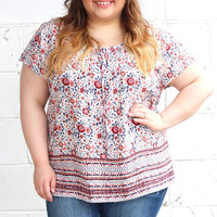 Talk Floral to Me Blouse in Ivory {Curvy}