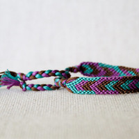 Geometric Chevron Friendship Bracelet Teal Purple and Brown