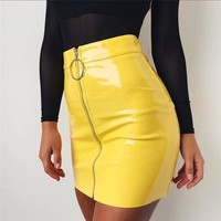 Yellow Vinyl Skirt
