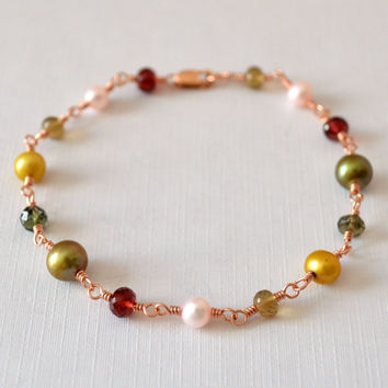 Christmas Bracelet, Rose Gold, Vintage Colors, Freshwater Pearl, Red Olive Green Pink Harvest, Holiday Jewelry, Wire Wrapped, Free Shipping