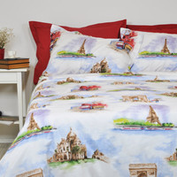 Paris Duvet Cover Set in Full Queen King Size, Red White Paris Theme Watercolor Print Bedding Set, Eiffel Tower Duvet Cover & Pillowcases