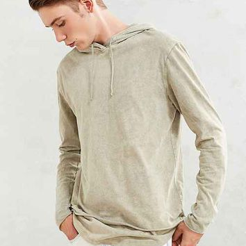 Feathers Washed Double Layer Hooded Long-Sleeve Tee