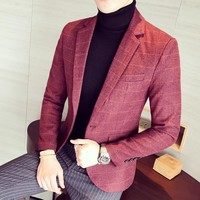 New products on the new men red lattice business casual small suit male casual business casual version of the suit