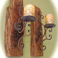 """Distressed Reclaimed Wood & Iron Wall Sconces (2) Chunky 2 """" Thick Wood 19"""" Tall- 5"""" Wide 9"""" front To Back- Comes Ready to Hang - Very Cool"""