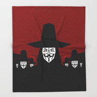 Million Mask March Throw Blanket by Chobopop