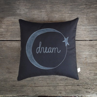moon and star pillow cover, child's room decor, black and white dream, dark midnight sky, chalkboard style MADE TO ORDER mamableudesigns