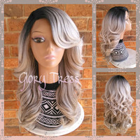 READY To SHIP // Long & Curly Silver/Gray Lace Front Wig, Ombre Silver Wig, Dark Rooted Bombshell Wig // SILVER (Free Shipping)