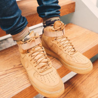 NIKE Air force High tops Women Men Running Sport Casual Shoes Brown