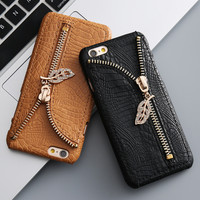 DR.CASE Luxury Crocodile Skin Case For iPhone 6 6s 7 Plus 5 5s SE Metal Zipper Leaves Card Slot Cover For iPhone 6 6s Plus Case