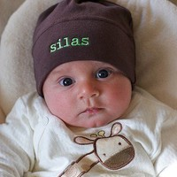 Chocolate Brown Baby Hat -  American Apparel - Custom Name Embroidery