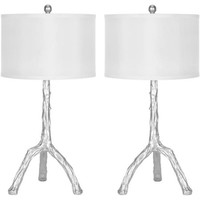 Safavieh Branch Table Lamp with CFL Bulb, Silver with Off-White Shade, Set of 2 - Walmart.com