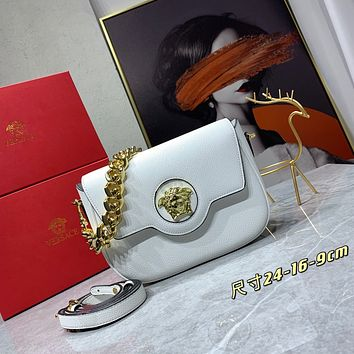 VERSACE WOMEN'S 066 24 MINI SIZELEATHER INCLINED CHAIN SHOULDER BAG WHITE