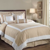 Chezmoi Collection 7 Piece Hotel Block Embossed Leaf Comforter Bed-in-a-bag Set Queen, Champagne/White
