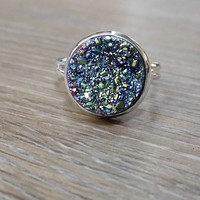 Druzy Ring- Light teal titanium drusy silver tone druzy ring