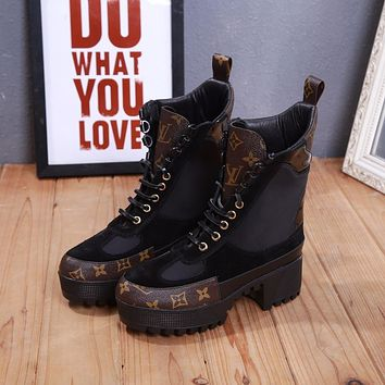 lv louis vuitton trending womens black leather side zip lace up ankle boots shoes high boots 328