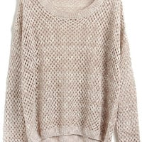 ROMWE   Hollow-out Batwing-sleeve Apricot Jumper, The Latest Street Fashion