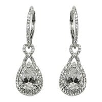 Deja Double Halo Pear Drop Earrings | 4.5ct