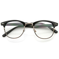 Horned Rim Clear Lens Half Frame Horn Rimmed Glasses +Top Quality Gift + gift box
