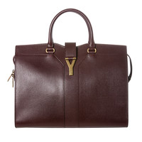 Yves Saint Laurent 'Cabas ChYc' Burgundy Textured Leather Tote Bag