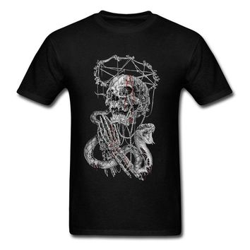 Fashion Design Free Shipping Sinner Skull Black Men's T-Shirt - IF,Gothic,Goth,Punk,Dark,Alternative Print Round Neck Man