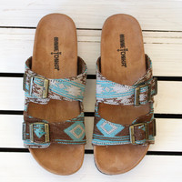 Minnetonka: Gypsy Slide On Sandals {Turq. Baja}