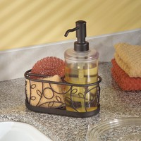 InterDesign Twigz Kitchen Countertop Soap Dispenser Pump, Sponge and Scrubby Caddy Organizer - Frost/Bronze