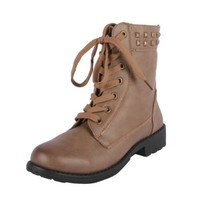 YOKI AURORA-12 Women's Lace Up Round Toe Ankle Boots, Color:BEIGE, Size:7.5