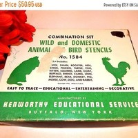 Animal Stencils 19 Piece Wild Domestic and Bird Stencil Set Vintage 1946 Kenworthy Educational Service No 1584 Made in the USA FREE SHIPPING
