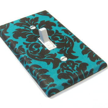 Turquoise and Brown Damask Light Switch Cover Switchplate Switch Plate French Style Decor