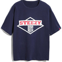 Navy Diamond And STEEZY Printed T-shirt