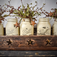 Primitive, Rustic Mason Jar Centerpiece With Lights and Garland