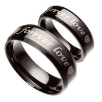 Fashion Black Pure Stainless Steel Couple Rings Forever Love Promise Wedding Ring Set (2pcs) (With Thanksgiving&Christmas Gift Box)= 1930216772