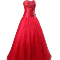 Winey Bridal Red Ball Gown Bling Shiny Beading Corset Prom Dresses (12W  ( Bust 40''   Waist 33''    Hips 42'' ))