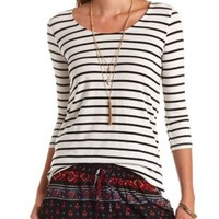 Striped Zipper-Back High-Low Top by Charlotte Russe - Ivory Combo