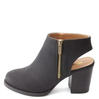 Slingback Side-Zip Chunky Heel Ankle Boots by Charlotte Russe - Black