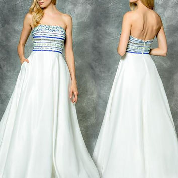 Colors 1714 Beaded Strapless Satin Prom Evening Dress