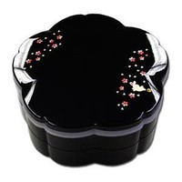 Family Size SAKURA Shaped Genuine Lacquered JUBAKO Bento Box ~ Rabbit Motif