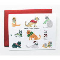 Holiday Cats Greetings (Single Card)
